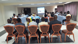 Scientists presenting bycatch information at the Tema (Ghana) workshop, 2016